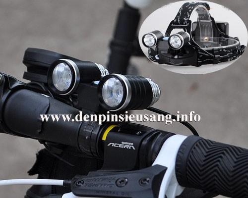 Đèn pin đeo trán 2 led được thiết kế dùng cho đội đầu và cả xe đạp rất tiện và chuyên nghiệp, mẫu mã siêu đẹp. Thông số kĩ thuật: - Sử dụng 2 Led CREE R2, cho độ sáng rất tót - Độ sáng 500 lumen - Chiếu xa 200m - Đèn có 5 chế độ sáng: Trái / phải / cả 2 / nhấp nháy / trái phải thay đổi rất độc đáo....