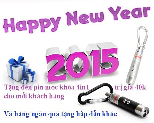 Happy new year - Chúc mừng năm mới 2015, DenPinSieuSang.Info tặng đèn pin móc khóa 4in1 trị giá 40k