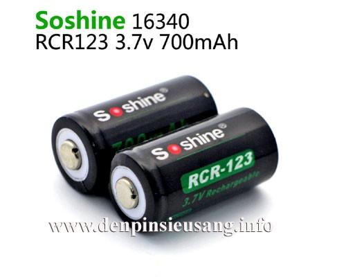 Pin 16340 Soshine 700mAh 3.7v